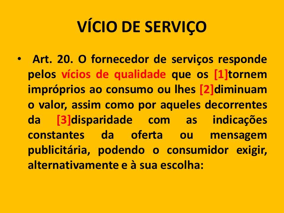 VÍCIO DE SERVIÇO Art.20.