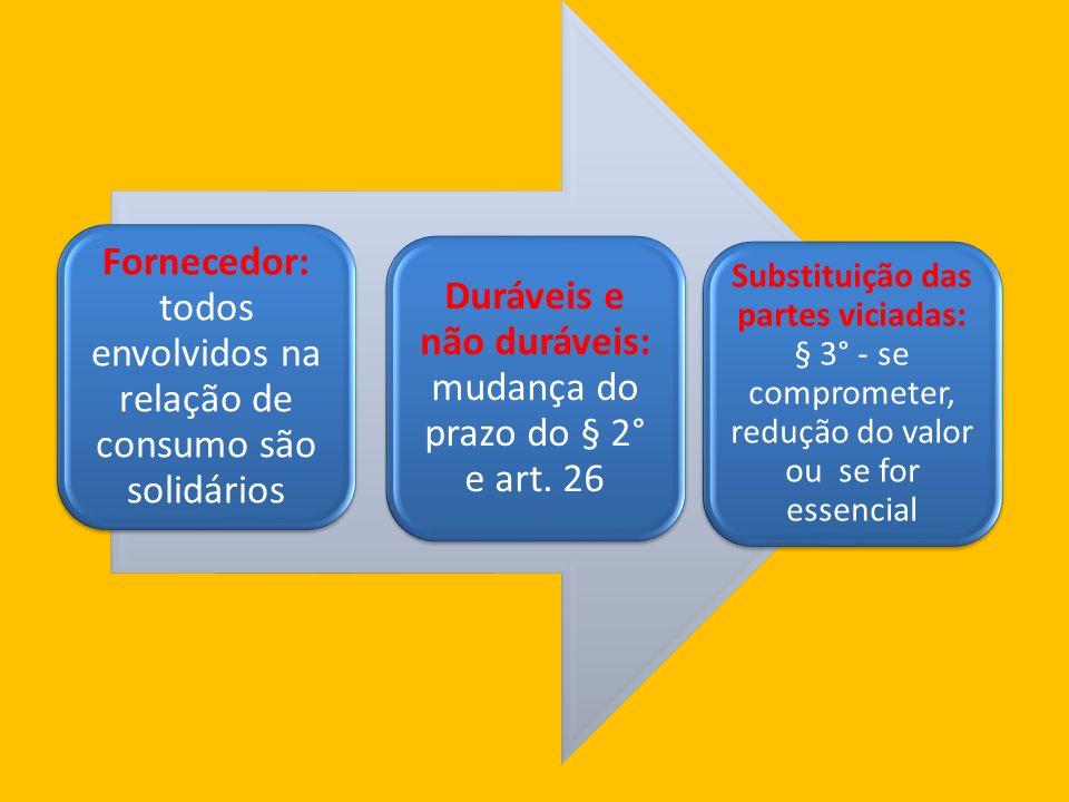 Fornecedor: todos envolvidos na relação de consumo são solidários Duráveis e não duráveis: mudança do prazo do § 2° e art.