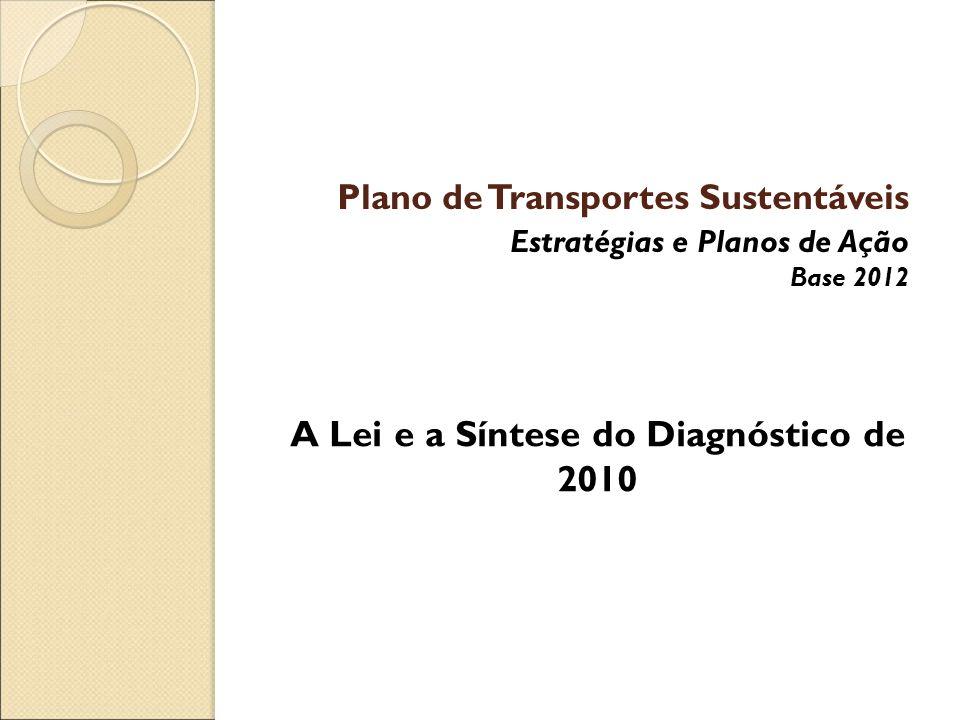 Plano de Transportes Sustentáveis Estratégias e Planos de Ação Base 2012 A Lei e a Síntese do Diagnóstico de 2010