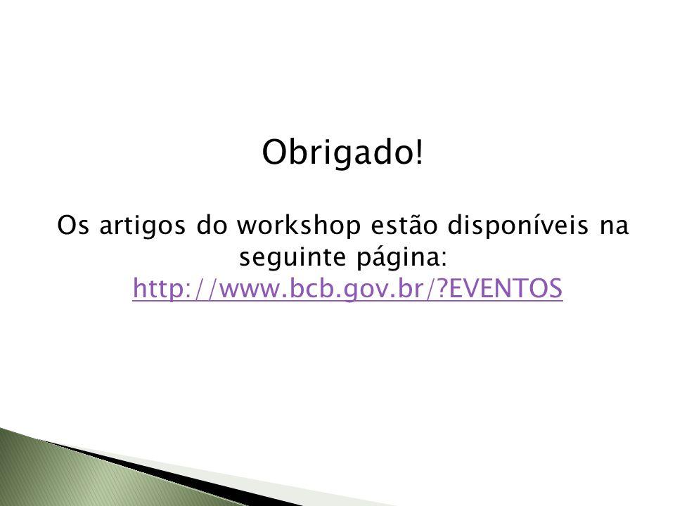 Obrigado! Os artigos do workshop estão disponíveis na seguinte página: http://www.bcb.gov.br/?EVENTOS