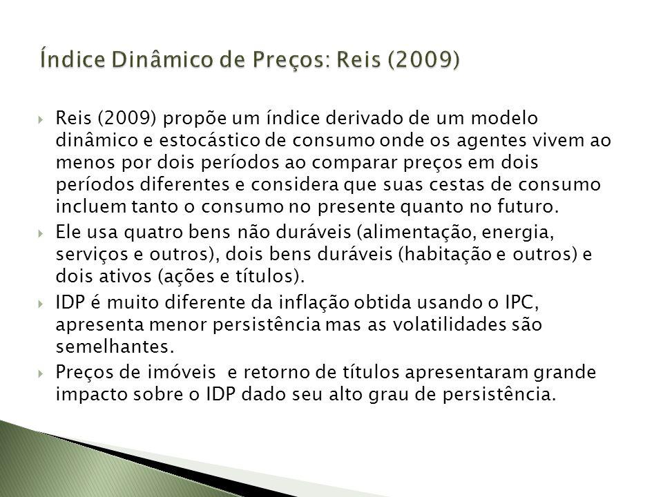 Reis (2009) propõe um índice derivado de um modelo dinâmico e estocástico de consumo onde os agentes vivem ao menos por dois períodos ao comparar preç