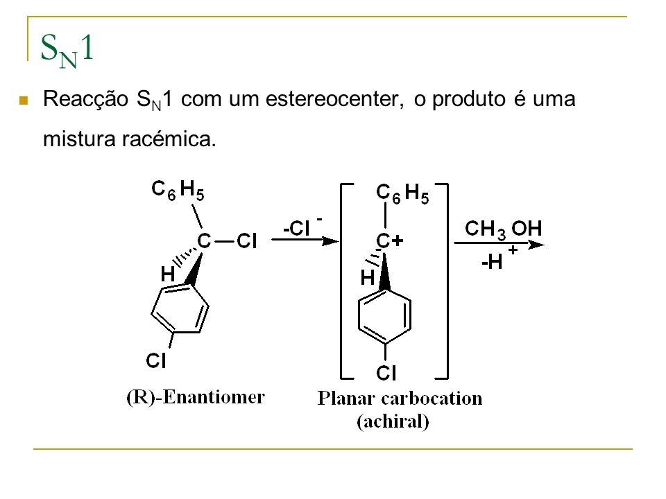 SN1SN1 Reacção S N 1 com um estereocenter, o produto é uma mistura racémica.