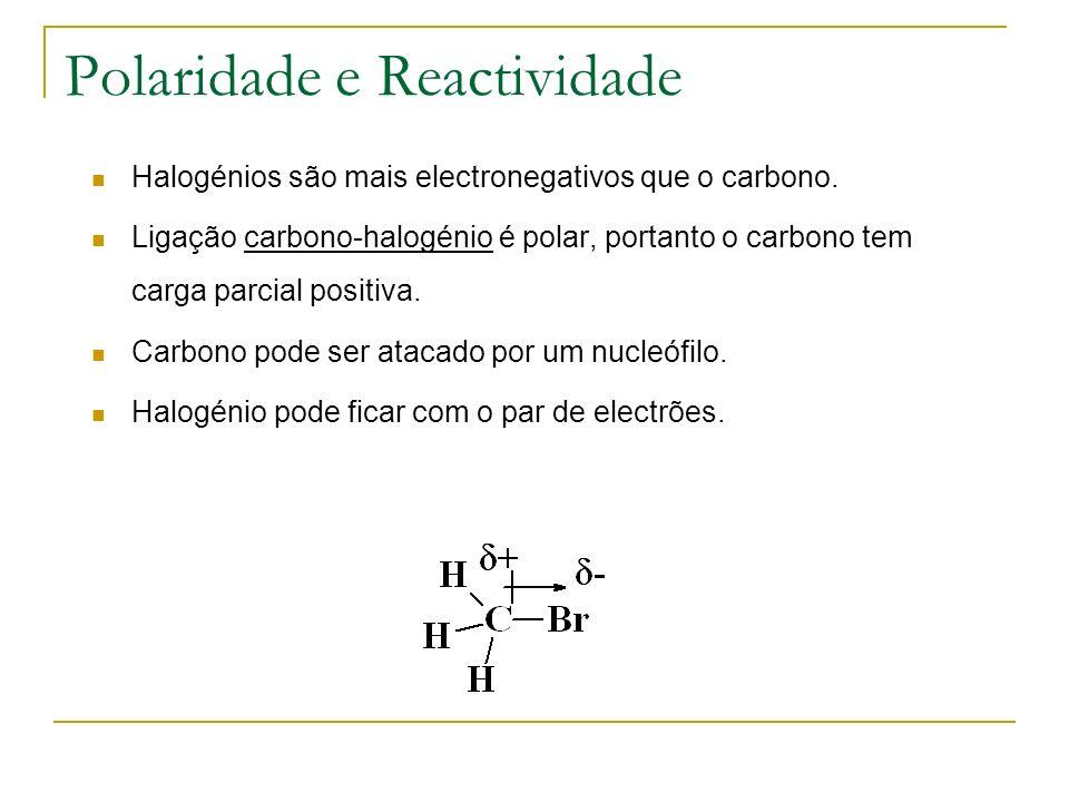 Polaridade e Reactividade Halogénios são mais electronegativos que o carbono. Ligação carbono-halogénio é polar, portanto o carbono tem carga parcial