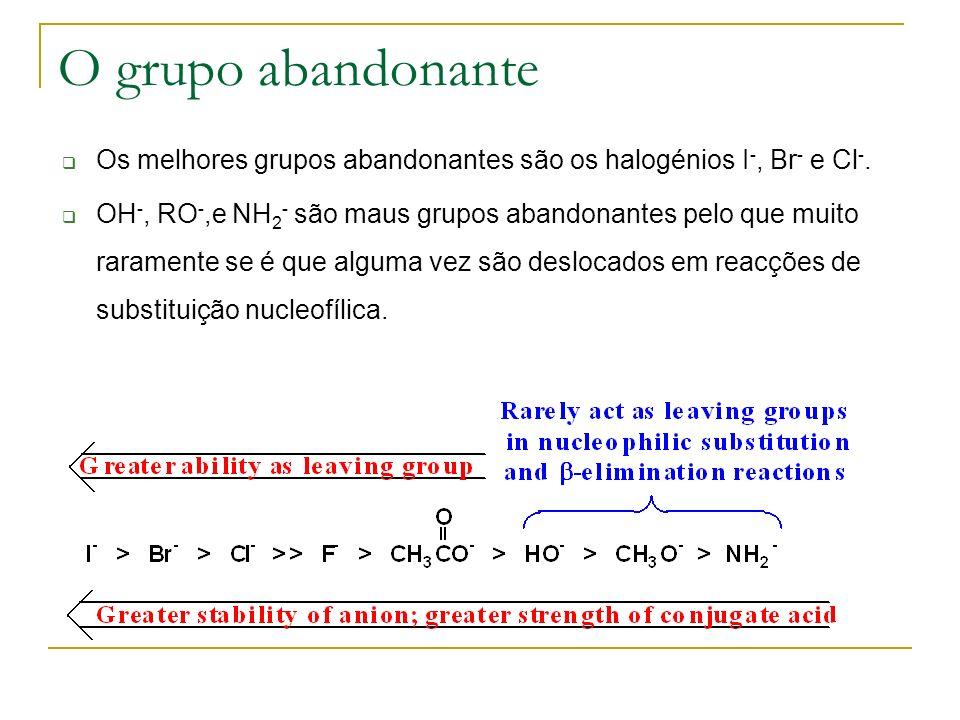 O grupo abandonante Os melhores grupos abandonantes são os halogénios I -, Br - e Cl -. OH -, RO -,e NH 2 - são maus grupos abandonantes pelo que muit