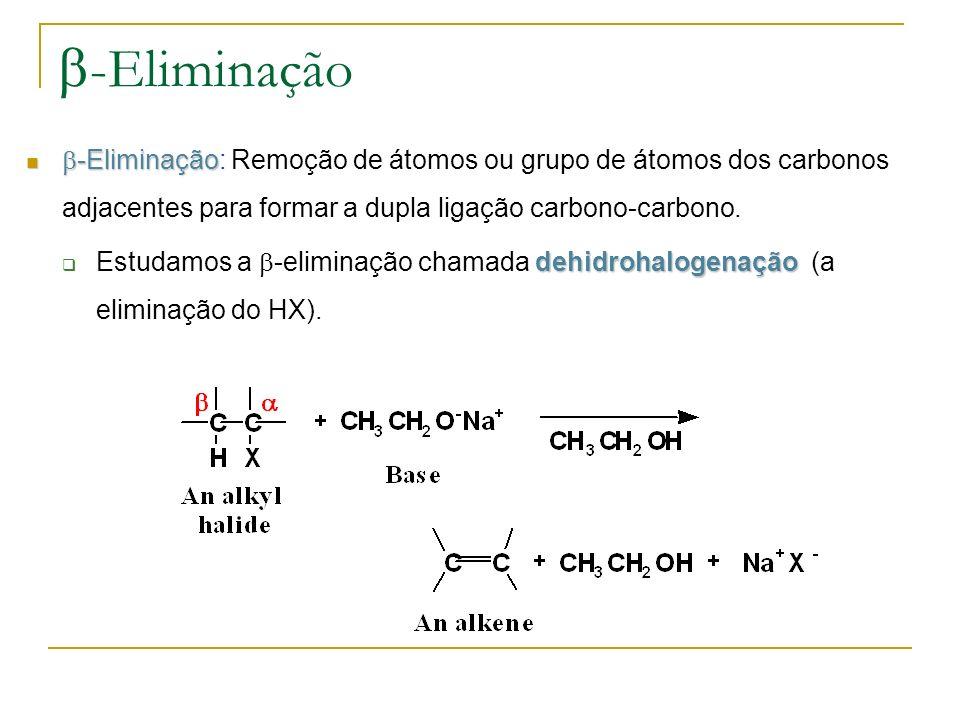 -Eliminação -Eliminação -Eliminação: Remoção de átomos ou grupo de átomos dos carbonos adjacentes para formar a dupla ligação carbono-carbono. dehidro