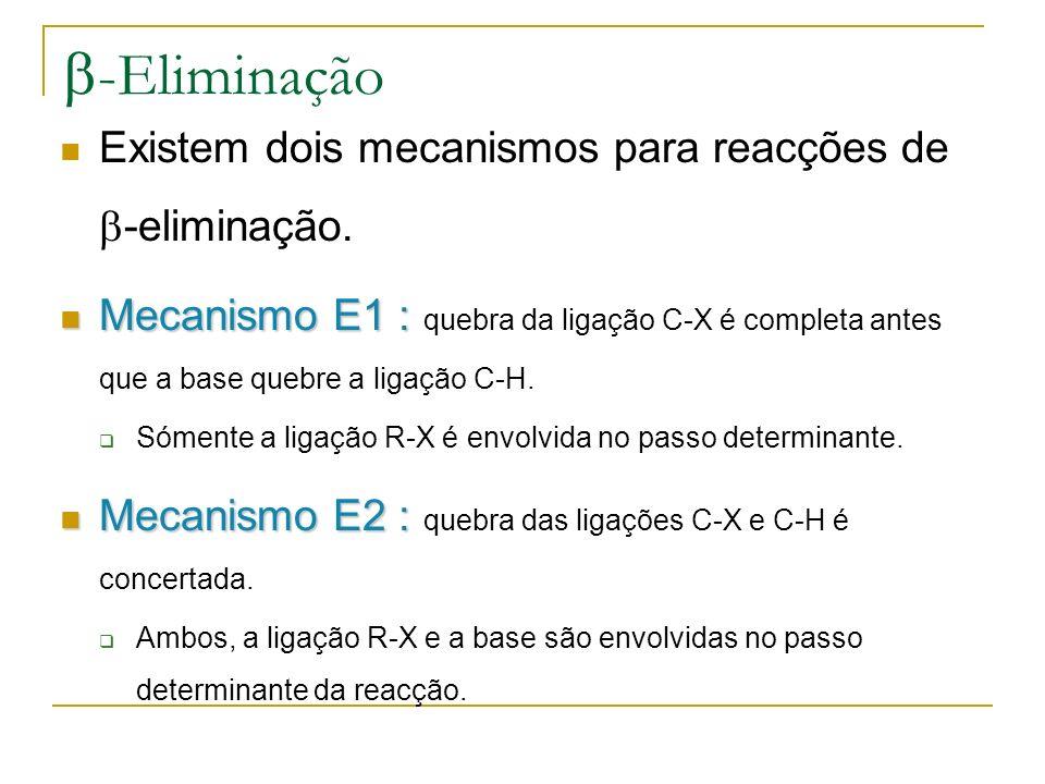 -Eliminação Existem dois mecanismos para reacções de -eliminação. Mecanismo E1 : Mecanismo E1 : quebra da ligação C-X é completa antes que a base queb