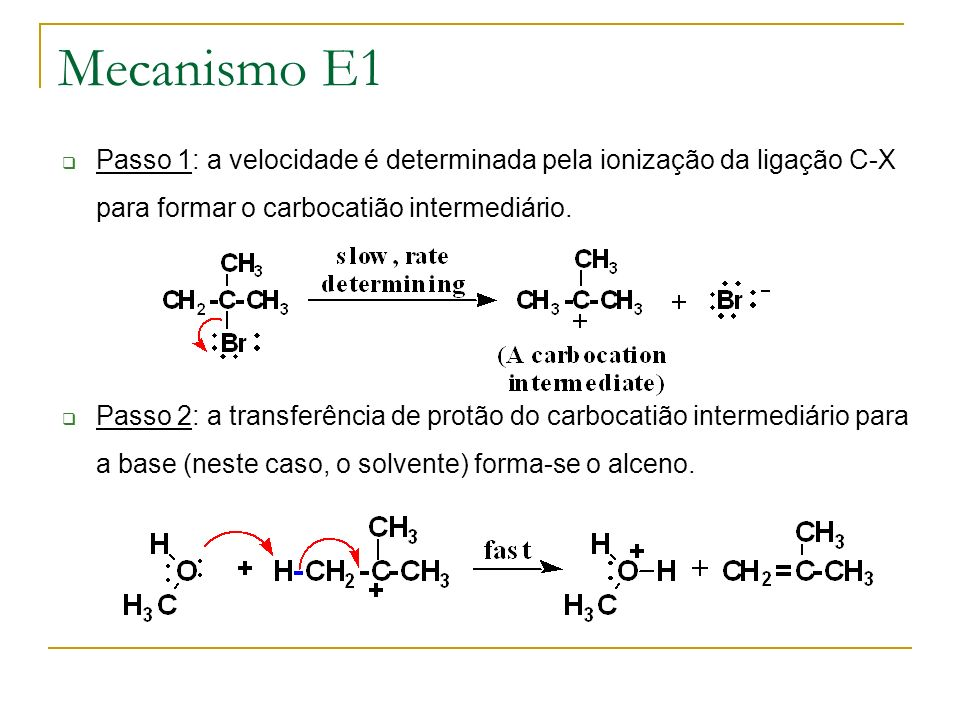 Mecanismo E1 Passo 1: a velocidade é determinada pela ionização da ligação C-X para formar o carbocatião intermediário. Passo 2: a transferência de pr