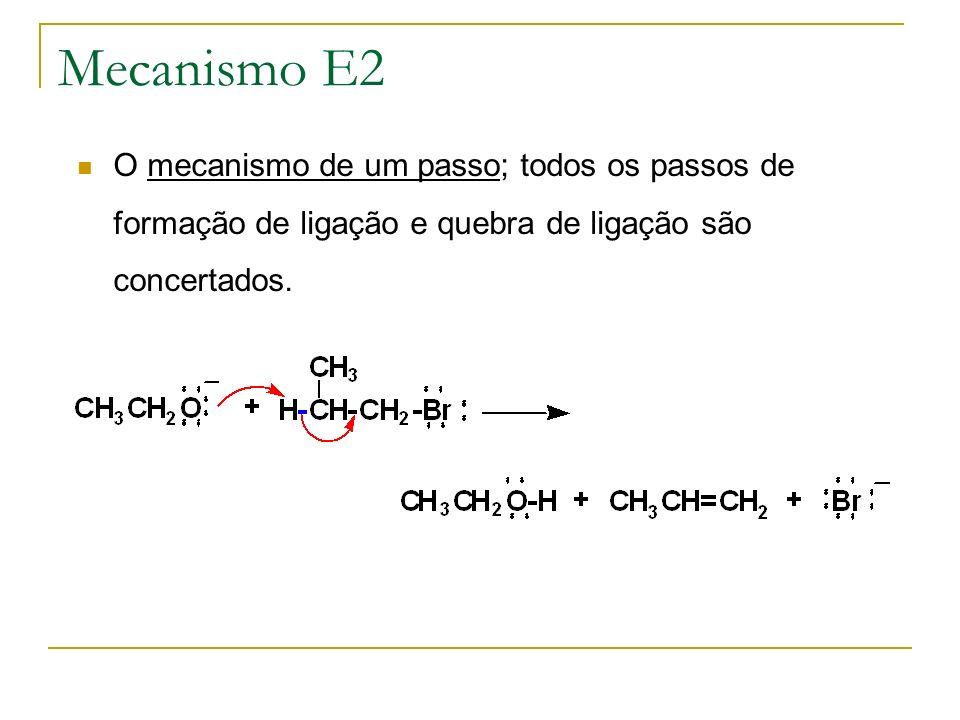 Mecanismo E2 O mecanismo de um passo; todos os passos de formação de ligação e quebra de ligação são concertados.