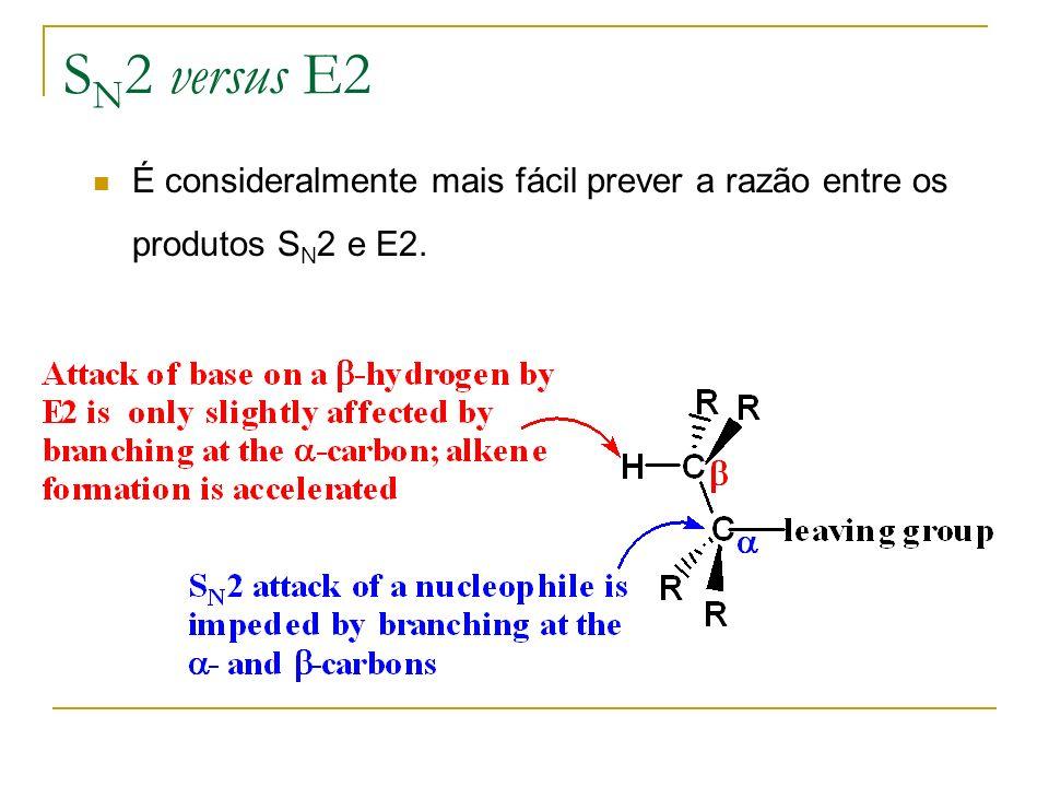 S N 2 versus E2 É consideralmente mais fácil prever a razão entre os produtos S N 2 e E2.