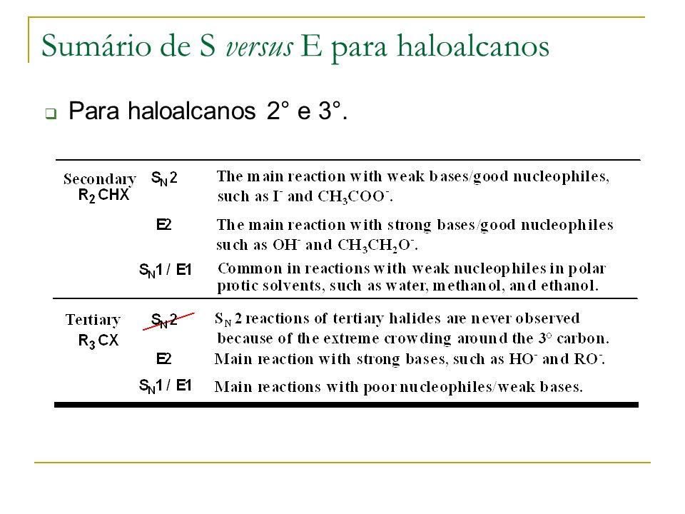 Sumário de S versus E para haloalcanos Para haloalcanos 2° e 3°.