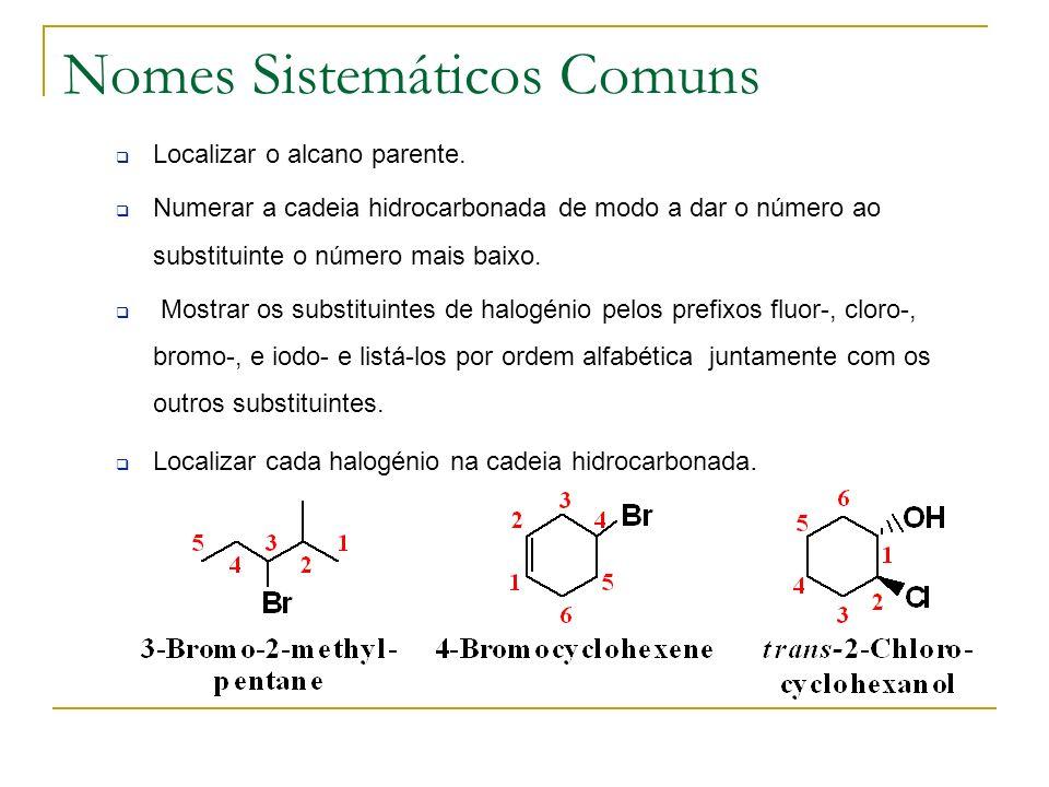 Nomes Sistemáticos Comuns Localizar o alcano parente. Numerar a cadeia hidrocarbonada de modo a dar o número ao substituinte o número mais baixo. Most