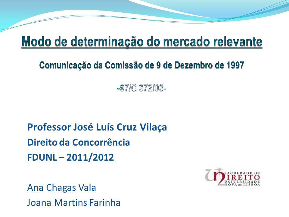 Professor José Luís Cruz Vilaça Direito da Concorrência FDUNL – 2011/2012 Ana Chagas Vala Joana Martins Farinha