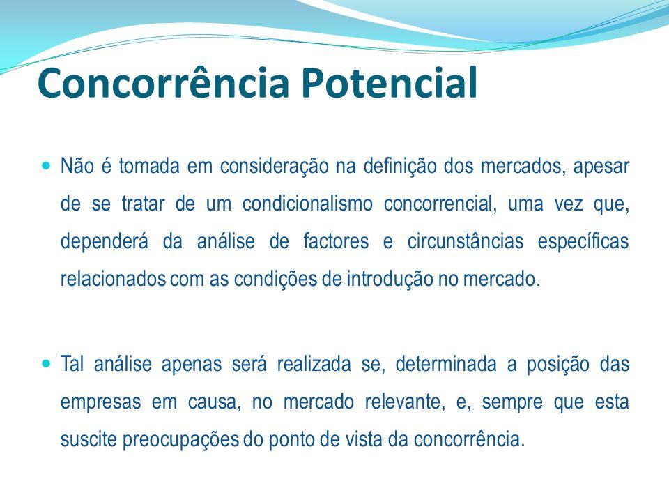 Concorrência Potencial Não é tomada em consideração na definição dos mercados, apesar de se tratar de um condicionalismo concorrencial, uma vez que, d
