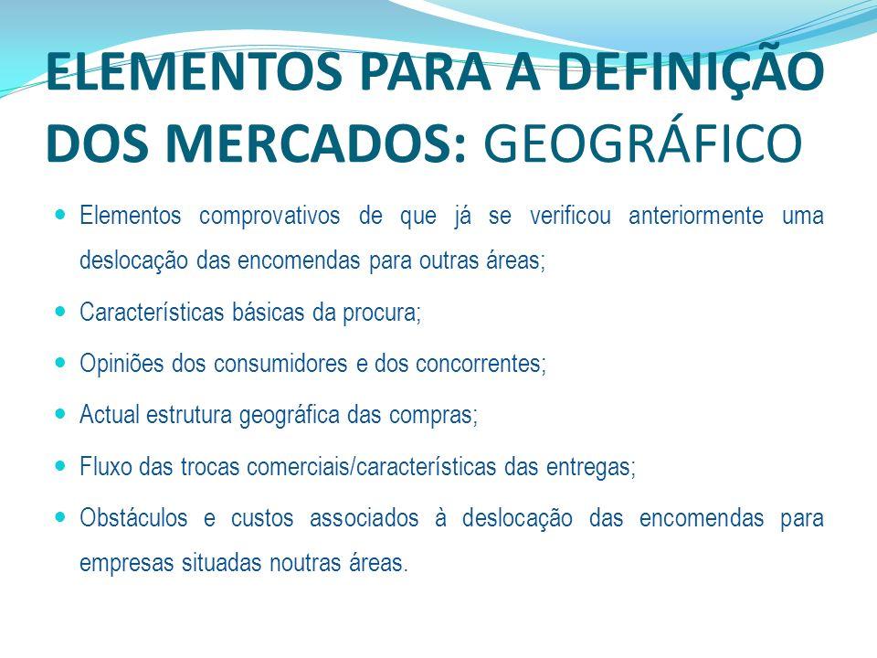 ELEMENTOS PARA A DEFINIÇÃO DOS MERCADOS: GEOGRÁFICO Elementos comprovativos de que já se verificou anteriormente uma deslocação das encomendas para ou