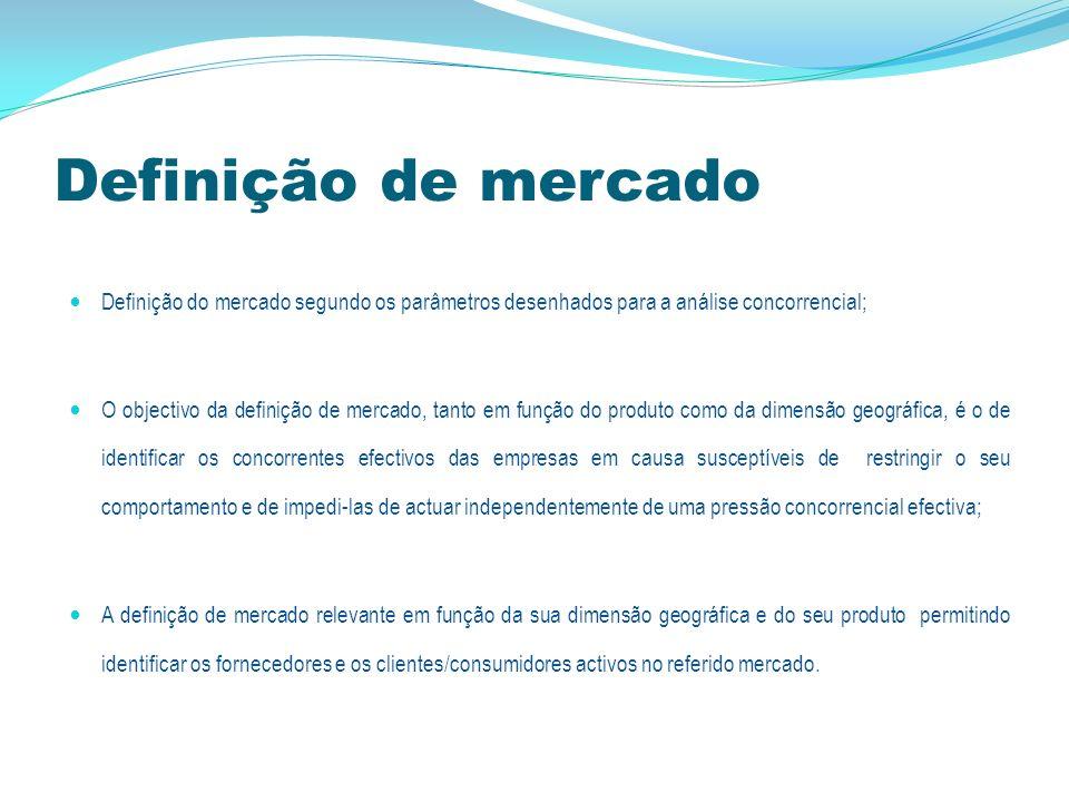 Definição de mercado relevante MERCADO DE PRODUTO RELEVANTE compreende todos os produtos e/ou serviços considerados permutáveis ou substituíveis pelo consumidor devido às suas características, preços e utilização pretendida.
