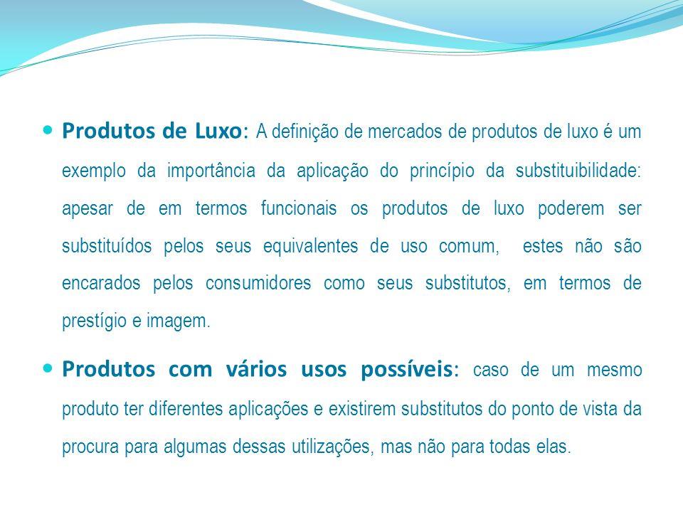 Produtos de Luxo: A definição de mercados de produtos de luxo é um exemplo da importância da aplicação do princípio da substituibilidade: apesar de em
