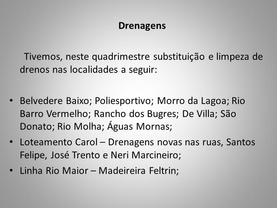 Drenagens Tivemos, neste quadrimestre substituição e limpeza de drenos nas localidades a seguir: Belvedere Baixo; Poliesportivo; Morro da Lagoa; Rio B
