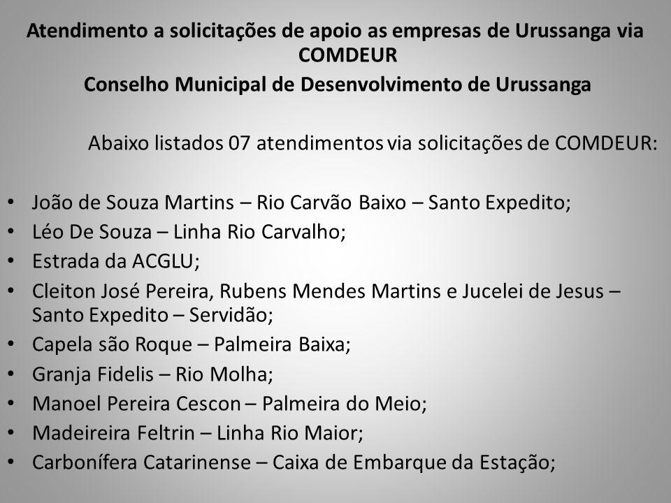Atendimento a solicitações de apoio as empresas de Urussanga via COMDEUR Conselho Municipal de Desenvolvimento de Urussanga Abaixo listados 07 atendim