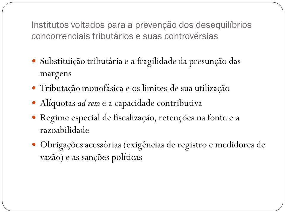 Institutos voltados para a prevenção dos desequilíbrios concorrenciais tributários e suas controvérsias Substituição tributária e a fragilidade da pre