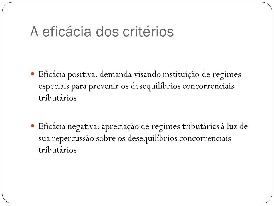 A eficácia dos critérios Eficácia positiva: demanda visando instituição de regimes especiais para prevenir os desequilíbrios concorrenciais tributário