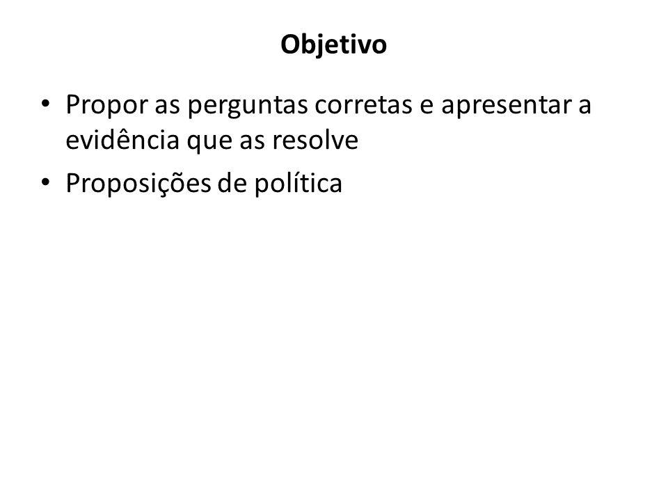 Objetivo Propor as perguntas corretas e apresentar a evidência que as resolve Proposições de política