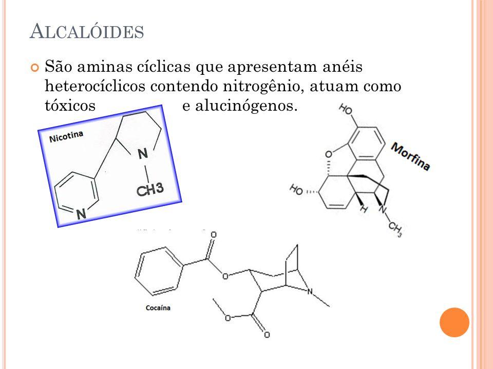 A LCALÓIDES São aminas cíclicas que apresentam anéis heterocíclicos contendo nitrogênio, atuam como tóxicos e alucinógenos.
