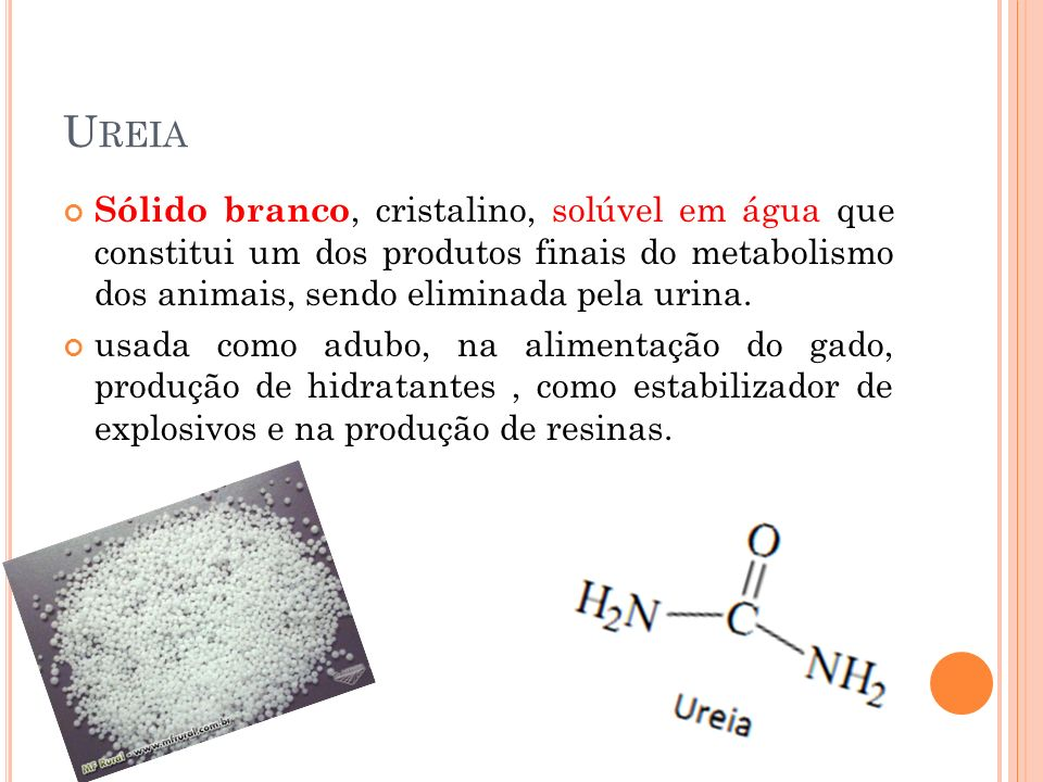 U REIA Sólido branco, cristalino, solúvel em água que constitui um dos produtos finais do metabolismo dos animais, sendo eliminada pela urina. usada c