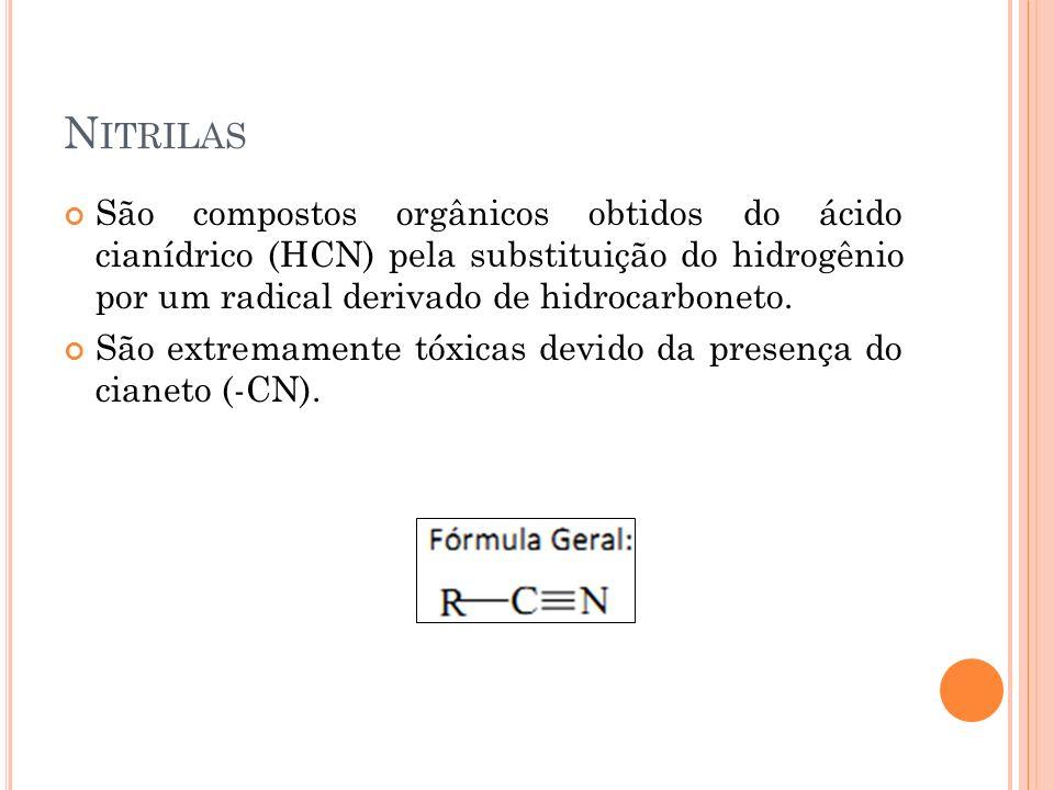 N ITRILAS São compostos orgânicos obtidos do ácido cianídrico (HCN) pela substituição do hidrogênio por um radical derivado de hidrocarboneto. São ext