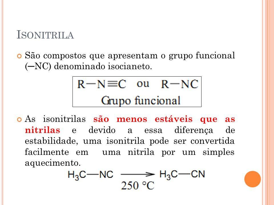 I SONITRILA São compostos que apresentam o grupo funcional (NC) denominado isocianeto. As isonitrilas são menos estáveis que as nitrilas e devido a es