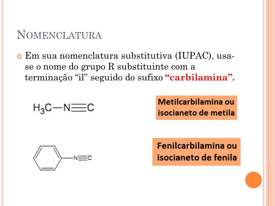 N OMENCLATURA Em sua nomenclatura substitutiva (IUPAC), usa- se o nome do grupo R substituinte com a terminação il seguido do sufixo carbilamina.