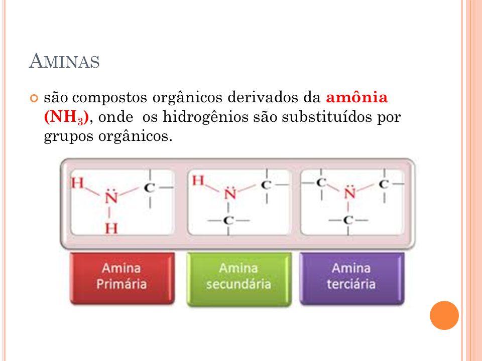 A MINAS são compostos orgânicos derivados da amônia (NH 3 ), onde os hidrogênios são substituídos por grupos orgânicos.