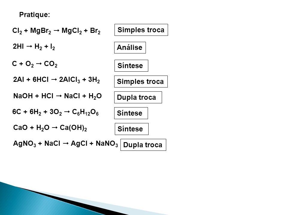 Pratique: Cl 2 + MgBr 2 MgCl 2 + Br 2 2HI H 2 + I 2 C + O 2 CO 2 2Al + 6HCl 2AlCl 3 + 3H 2 NaOH + HCl NaCl + H 2 O 6C + 6H 2 + 3O 2 C 6 H 12 O 6 Simpl