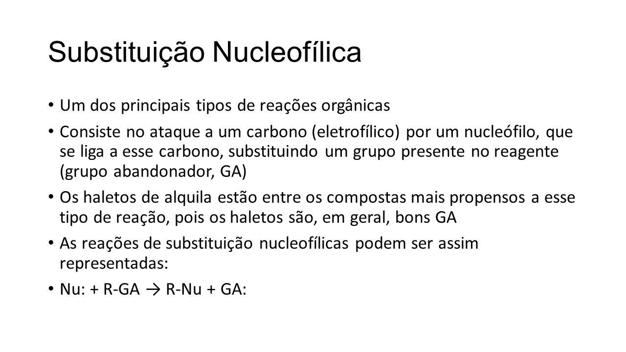 Reações S N 1 Em alguns casos de substituição nucleofílica a velocidade independe da concentração do nucleófilo, caracterizando uma reação de primeira ordem global Isso significa que a etapa limitante da reação depende apenas da concentração de um reagente (no caso o composto orgânico eletrofílico).