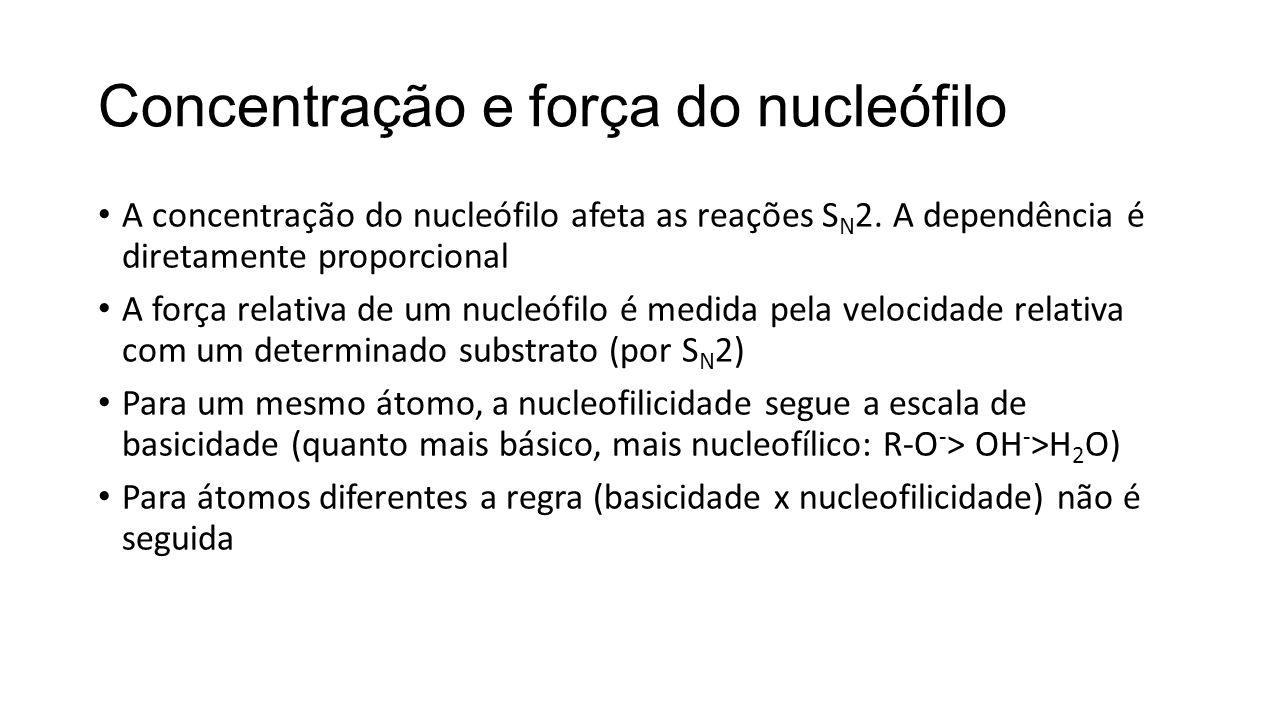 Concentração e força do nucleófilo A concentração do nucleófilo afeta as reações S N 2. A dependência é diretamente proporcional A força relativa de u
