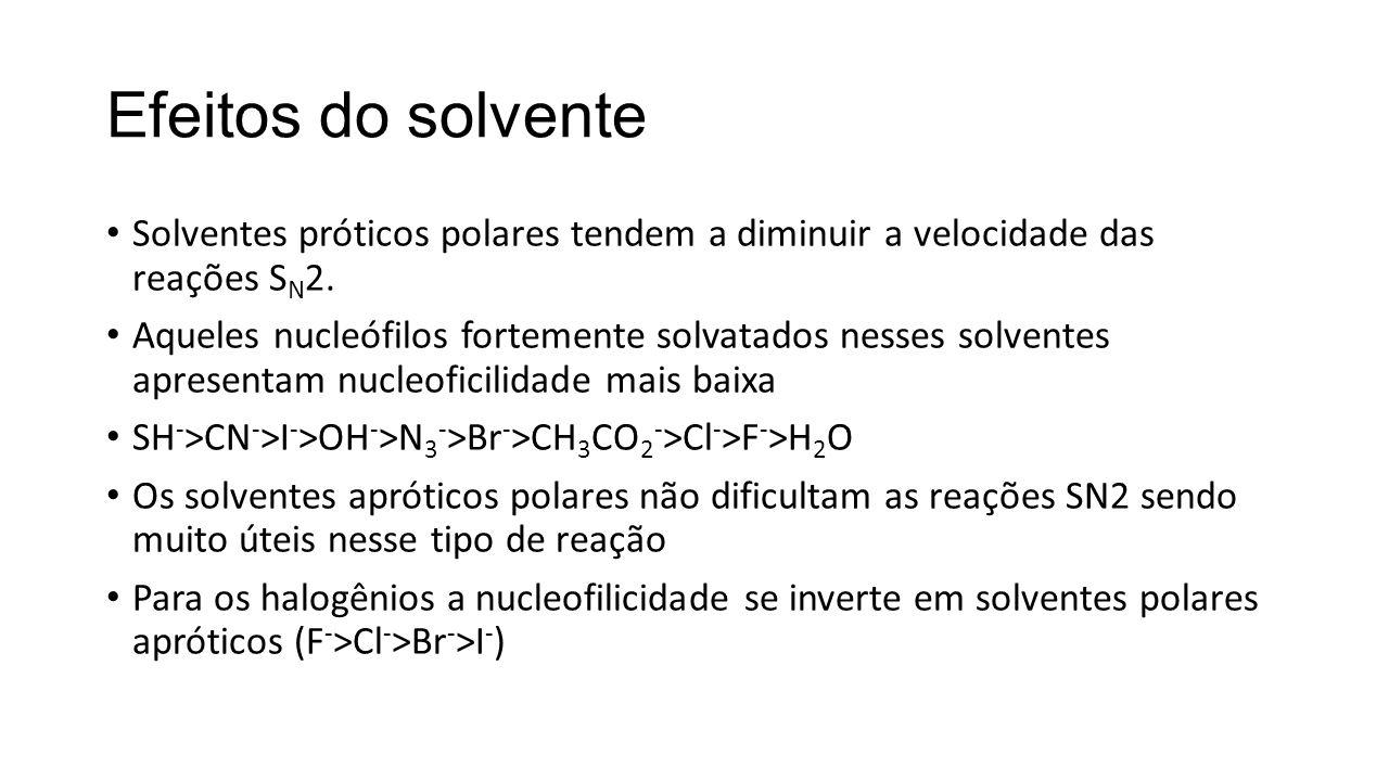Efeitos do solvente Solventes próticos polares tendem a diminuir a velocidade das reações S N 2. Aqueles nucleófilos fortemente solvatados nesses solv