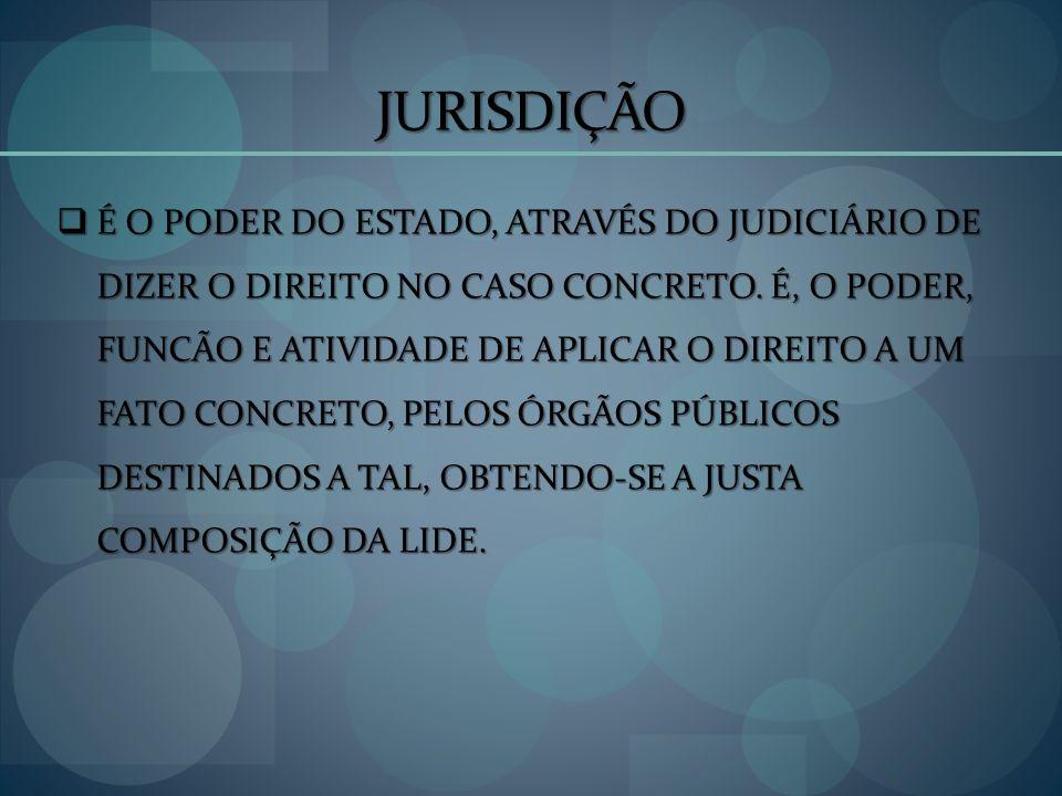 JURISDIÇÃO É O PODER DO ESTADO, ATRAVÉS DO JUDICIÁRIO DE DIZER O DIREITO NO CASO CONCRETO. É, O PODER, FUNCÃO E ATIVIDADE DE APLICAR O DIREITO A UM FA