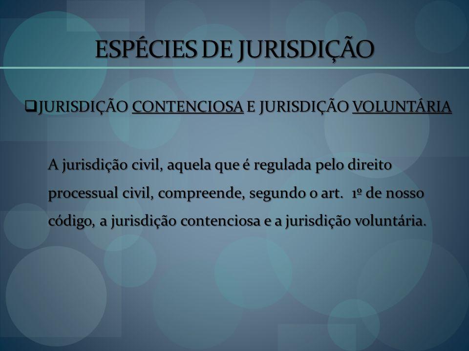 ESPÉCIES DE JURISDIÇÃO JURISDIÇÃO CONTENCIOSA E JURISDIÇÃO VOLUNTÁRIA JURISDIÇÃO CONTENCIOSA E JURISDIÇÃO VOLUNTÁRIA A jurisdição civil, aquela que é