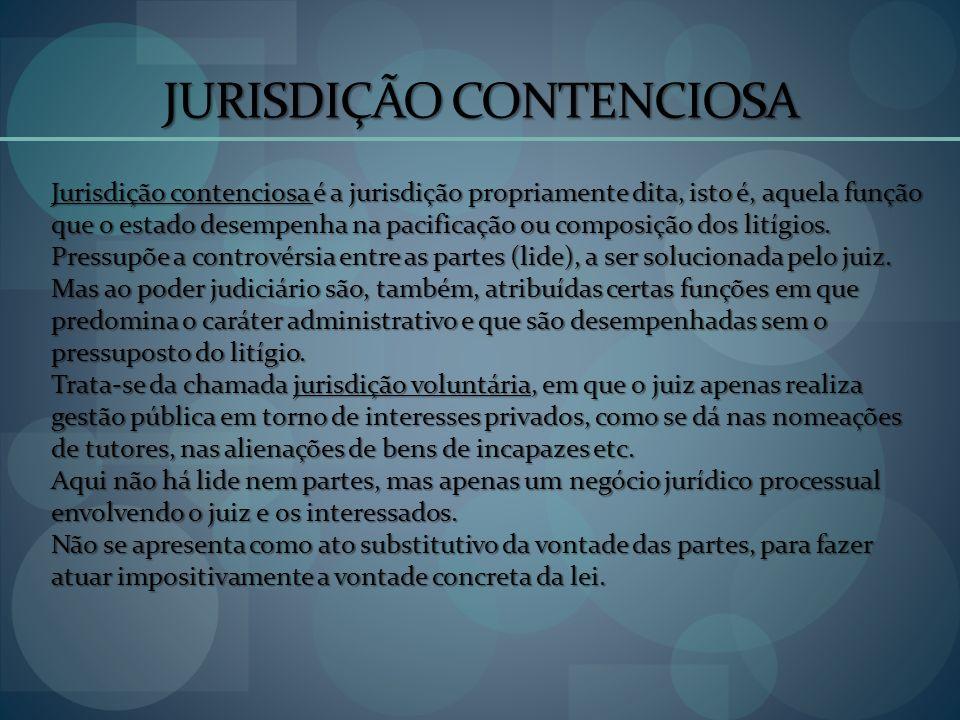 JURISDIÇÃO CONTENCIOSA Jurisdição contenciosa é a jurisdição propriamente dita, isto é, aquela função que o estado desempenha na pacificação ou compos