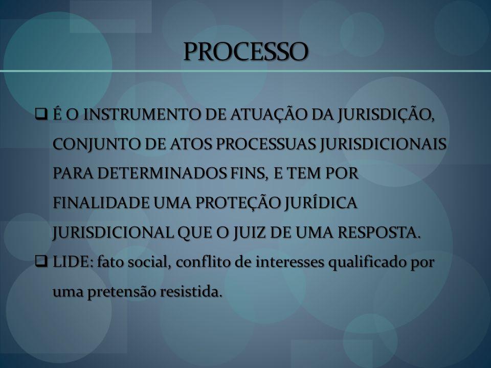 PROCESSO É O INSTRUMENTO DE ATUAÇÃO DA JURISDIÇÃO, CONJUNTO DE ATOS PROCESSUAS JURISDICIONAIS PARA DETERMINADOS FINS, E TEM POR FINALIDADE UMA PROTEÇÃ