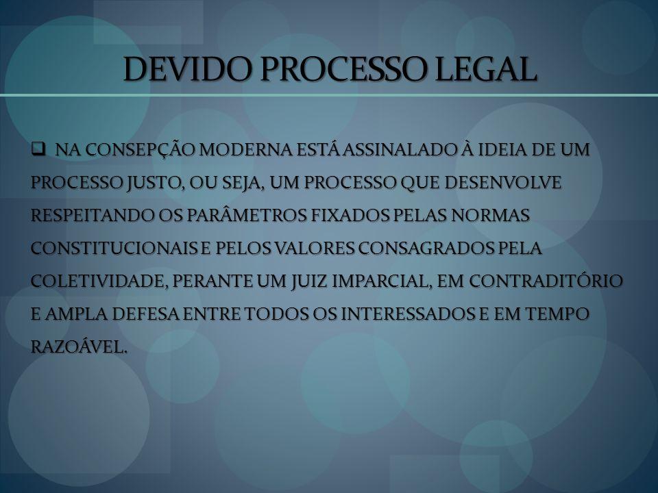 DEVIDO PROCESSO LEGAL NA CONSEPÇÃO MODERNA ESTÁ ASSINALADO À IDEIA DE UM NA CONSEPÇÃO MODERNA ESTÁ ASSINALADO À IDEIA DE UM PROCESSO JUSTO, OU SEJA, U