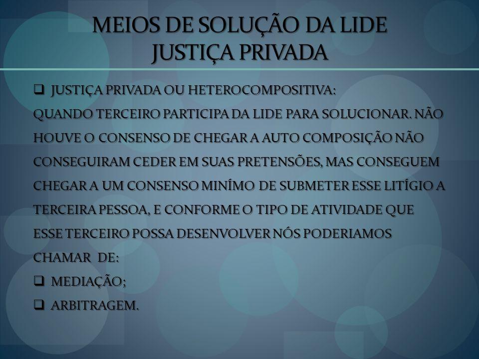 MEIOS DE SOLUÇÃO DA LIDE JUSTIÇA PRIVADA JUSTIÇA PRIVADA OU HETEROCOMPOSITIVA: JUSTIÇA PRIVADA OU HETEROCOMPOSITIVA: QUANDO TERCEIRO PARTICIPA DA LIDE