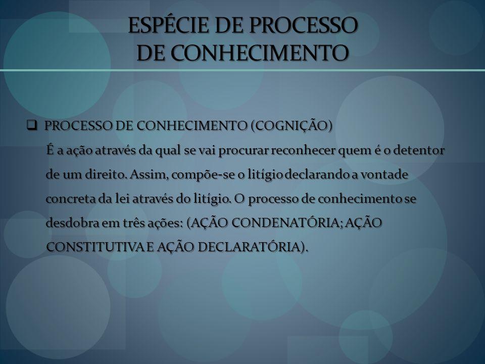 ESPÉCIE DE PROCESSO DE CONHECIMENTO PROCESSO DE CONHECIMENTO (COGNIÇÃO) PROCESSO DE CONHECIMENTO (COGNIÇÃO) É a ação através da qual se vai procurar r