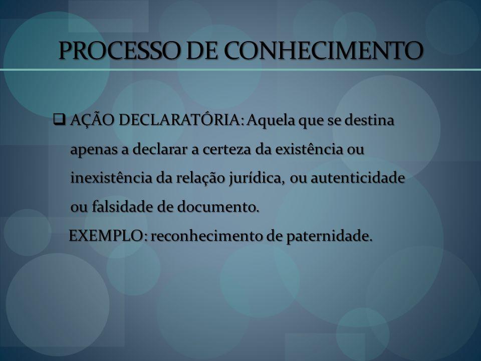 PROCESSO DE CONHECIMENTO AÇÃO DECLARATÓRIA: Aquela que se destina apenas a declarar a certeza da existência ou inexistência da relação jurídica, ou au