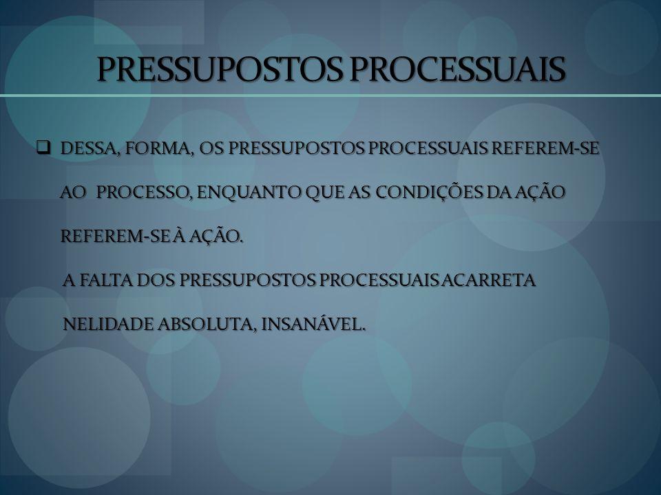 PRESSUPOSTOS PROCESSUAIS DESSA, FORMA, OS PRESSUPOSTOS PROCESSUAIS REFEREM-SE AO PROCESSO, ENQUANTO QUE AS CONDIÇÕES DA AÇÃO REFEREM-SE À AÇÃO. DESSA,