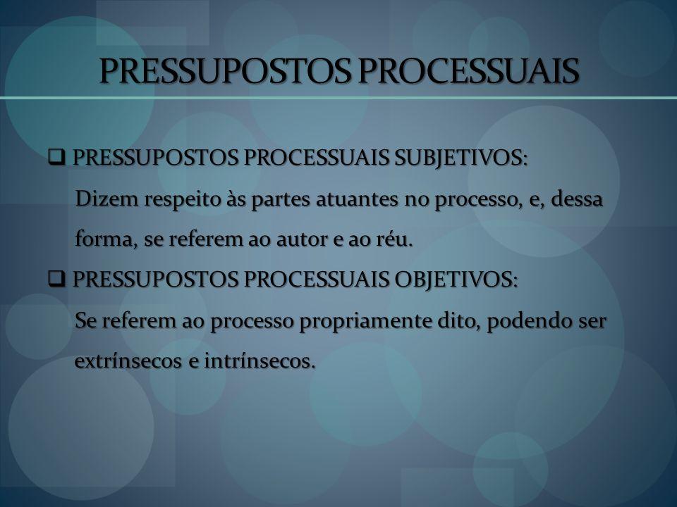 PRESSUPOSTOS PROCESSUAIS PRESSUPOSTOS PROCESSUAIS SUBJETIVOS: PRESSUPOSTOS PROCESSUAIS SUBJETIVOS: Dizem respeito às partes atuantes no processo, e, d