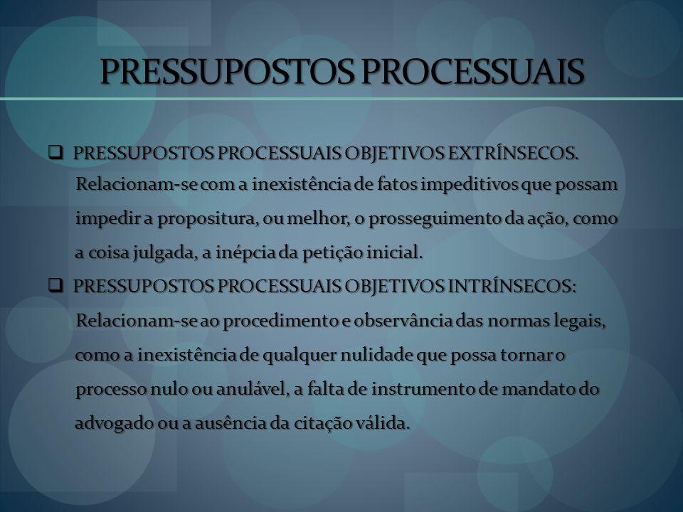 PRESSUPOSTOS PROCESSUAIS PRESSUPOSTOS PROCESSUAIS OBJETIVOS EXTRÍNSECOS. PRESSUPOSTOS PROCESSUAIS OBJETIVOS EXTRÍNSECOS. Relacionam-se com a inexistên