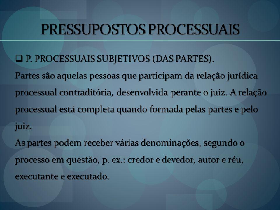 PRESSUPOSTOS PROCESSUAIS P. PROCESSUAIS SUBJETIVOS (DAS PARTES). P. PROCESSUAIS SUBJETIVOS (DAS PARTES). Partes são aquelas pessoas que participam da