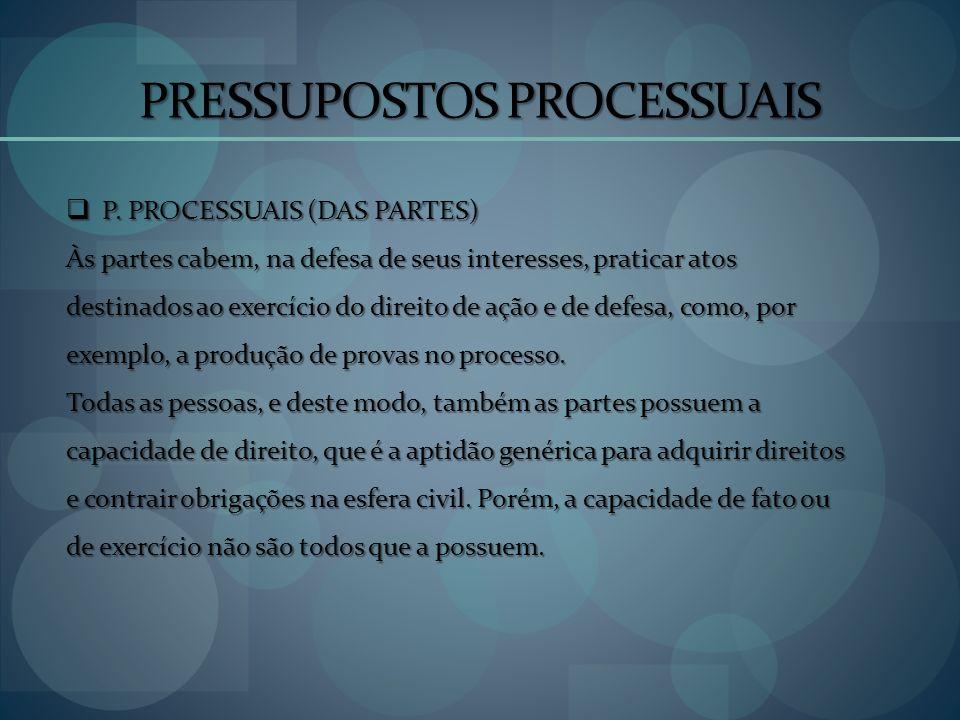 PRESSUPOSTOS PROCESSUAIS P. PROCESSUAIS (DAS PARTES) P. PROCESSUAIS (DAS PARTES) Às partes cabem, na defesa de seus interesses, praticar atos destinad