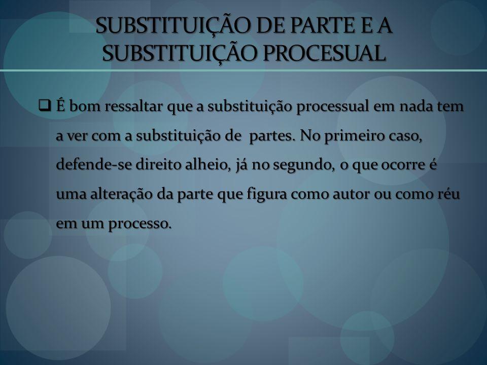 SUBSTITUIÇÃO DE PARTE E A SUBSTITUIÇÃO PROCESUAL É bom ressaltar que a substituição processual em nada tem a ver com a substituição de partes. No prim