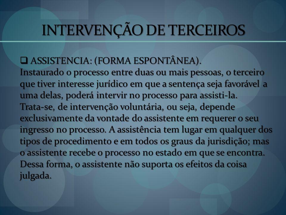 INTERVENÇÃO DE TERCEIROS ASSISTENCIA: (FORMA ESPONTÂNEA). ASSISTENCIA: (FORMA ESPONTÂNEA). Instaurado o processo entre duas ou mais pessoas, o terceir